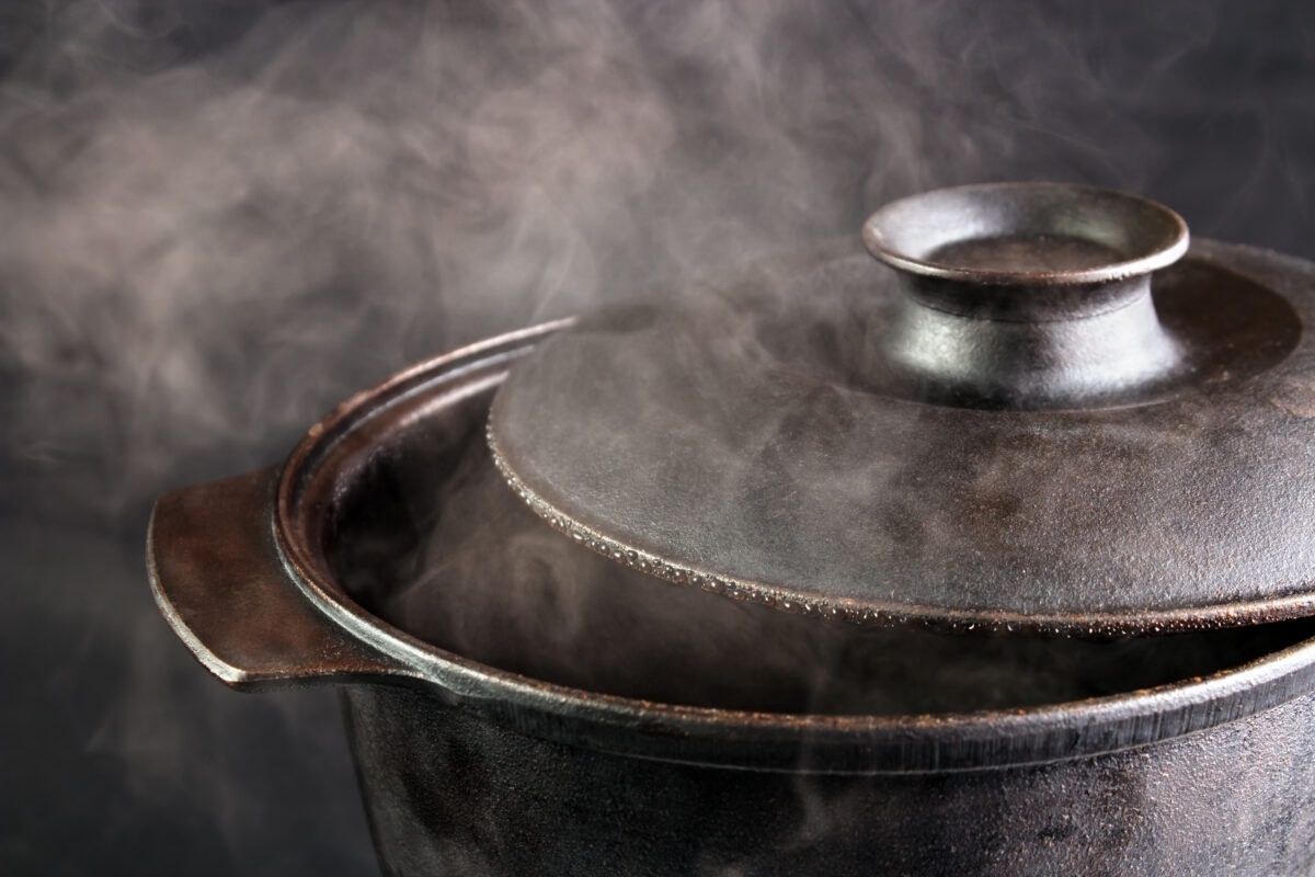 steaming pot with lid